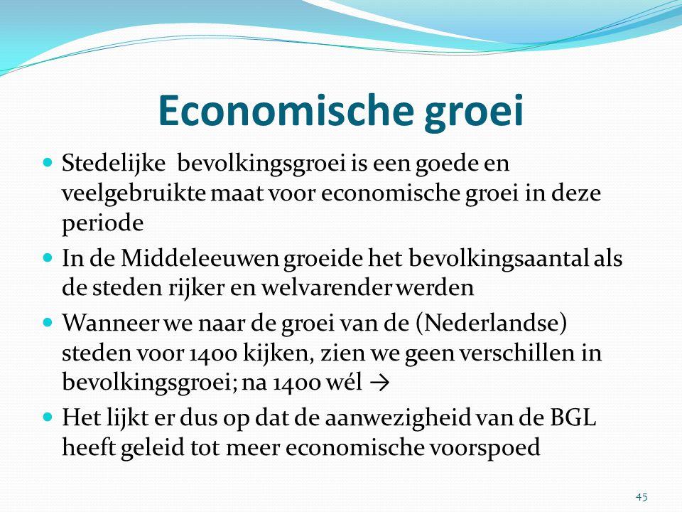Economische groei Stedelijke bevolkingsgroei is een goede en veelgebruikte maat voor economische groei in deze periode In de Middeleeuwen groeide het