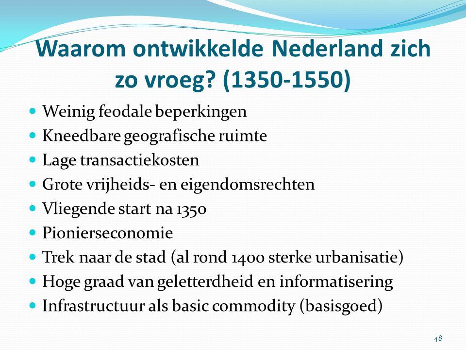 Weinig feodale beperkingen Kneedbare geografische ruimte Lage transactiekosten Grote vrijheids- en eigendomsrechten Vliegende start na 1350 Pioniersec