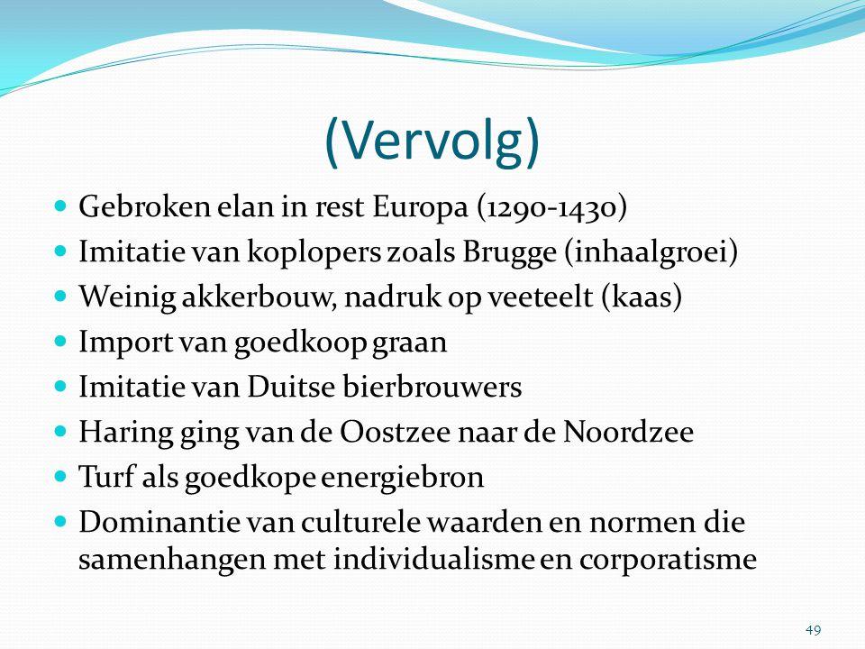 (Vervolg) Gebroken elan in rest Europa (1290-1430) Imitatie van koplopers zoals Brugge (inhaalgroei) Weinig akkerbouw, nadruk op veeteelt (kaas) Impor