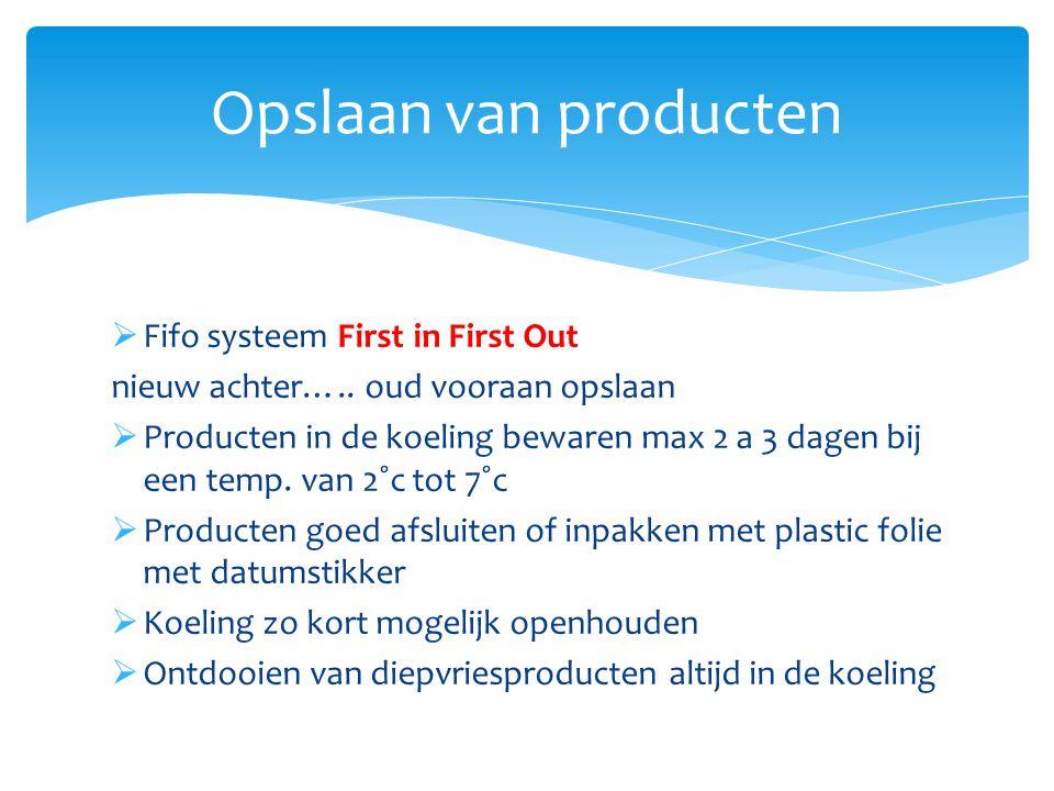  Fifo systeem First in First Out nieuw achter….. oud vooraan opslaan  Producten in de koeling bewaren max 2 a 3 dagen bij een temp. van 2˚c tot 7˚c