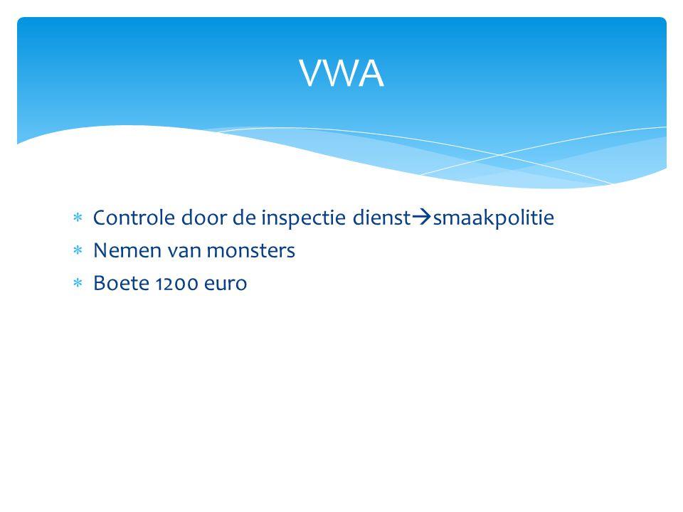  Controle door de inspectie dienst  smaakpolitie  Nemen van monsters  Boete 1200 euro VWA