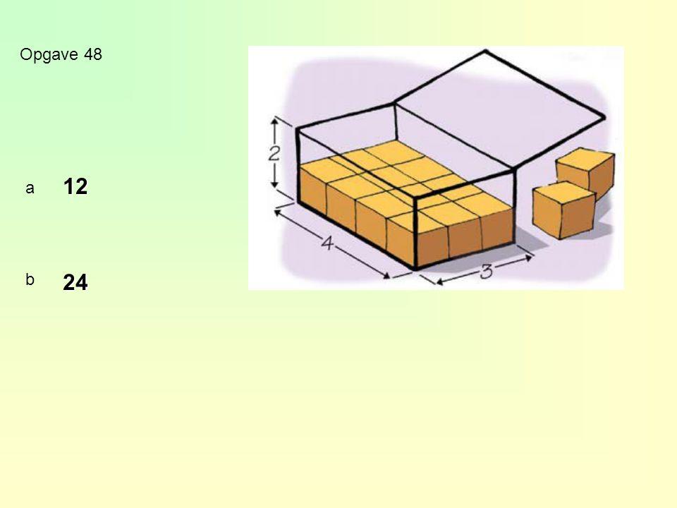 Inhoud balk Inhoud balk = lengte x breedte x hoogte m 3 dm 3 cm 3 1 m 3 = 1000 dm 3 1 dm 3 = 1000 cm 3 liter dl cl ml 1 l = 10 dl 1 dl = 10 cl1 cl = 10 ml Inhoudseenheden opgave 49 a8 dm 3 = 8000 cm 3 b5 m 3 = 5000 dm 3 c6000 cm 3 = 6 dm 3 d90 000 dm 3 = 90 m 3 e5 liter = 50 dl f5 dl = 0,5 l g3000 ml = 3 l h30 cl = 3 dl x 1000 : 1000 x 10 : 10 : 1000 : 10