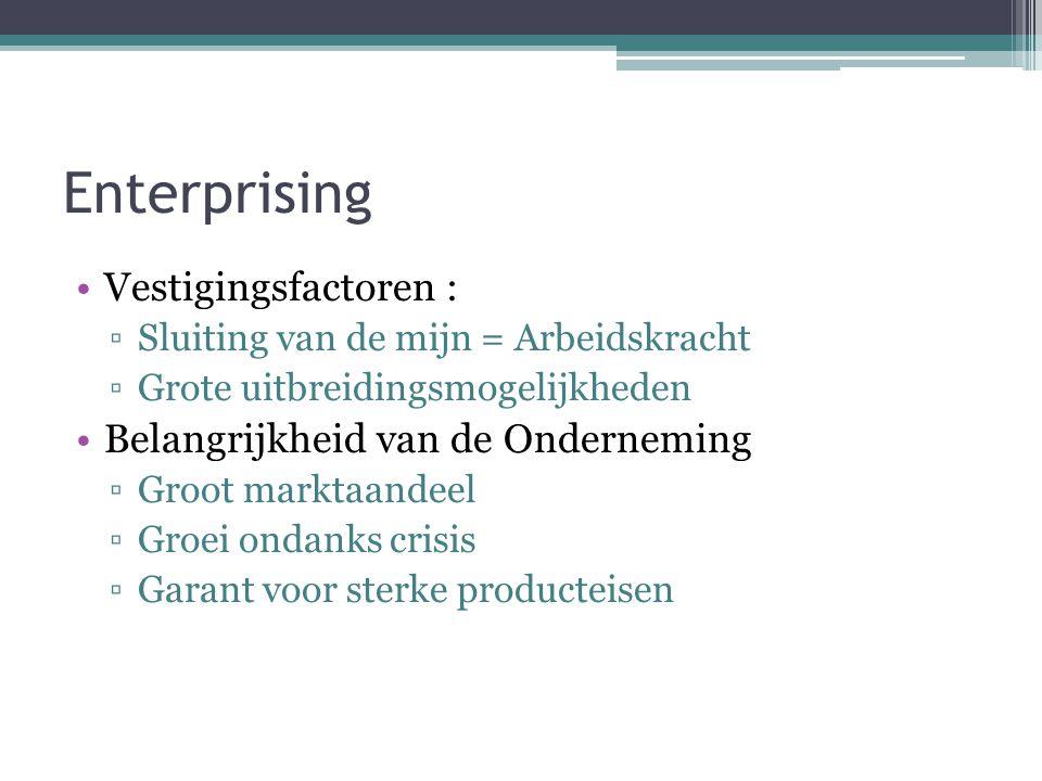 Enterprising Vestigingsfactoren : ▫Sluiting van de mijn = Arbeidskracht ▫Grote uitbreidingsmogelijkheden Belangrijkheid van de Onderneming ▫Groot mark
