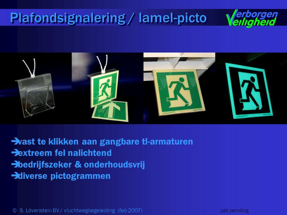  vast te klikken aan gangbare tl-armaturen  extreem fel nalichtend  bedrijfszeker & onderhoudsvrij  diverse pictogrammen Plafondsignalering / lamel-picto © S.