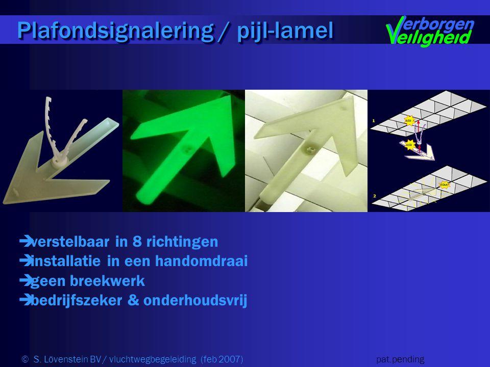  verstelbaar in 8 richtingen  installatie in een handomdraai  geen breekwerk  bedrijfszeker & onderhoudsvrij Plafondsignalering / pijl-lamel © S.