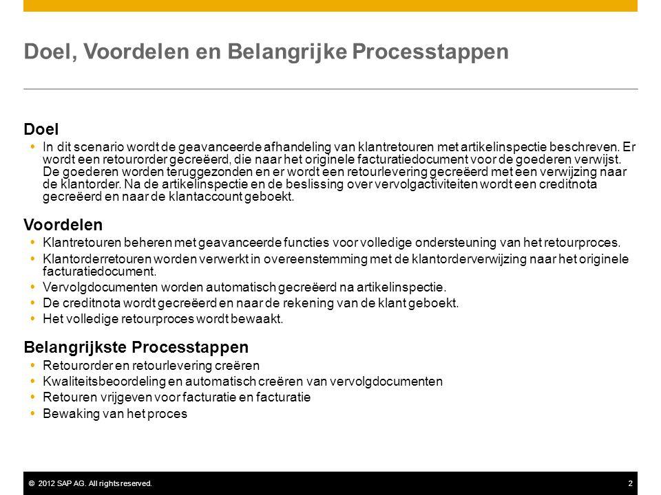 ©2012 SAP AG. All rights reserved.2 Doel, Voordelen en Belangrijke Processtappen Doel  In dit scenario wordt de geavanceerde afhandeling van klantret