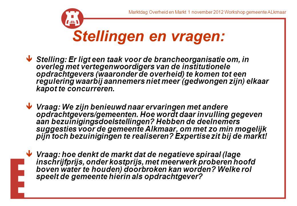 Marktdag Overheid en Markt 1 november 2012 Workshop gemeente ALkmaar Stellingen en vragen: êStelling: Er ligt een taak voor de brancheorganisatie om,