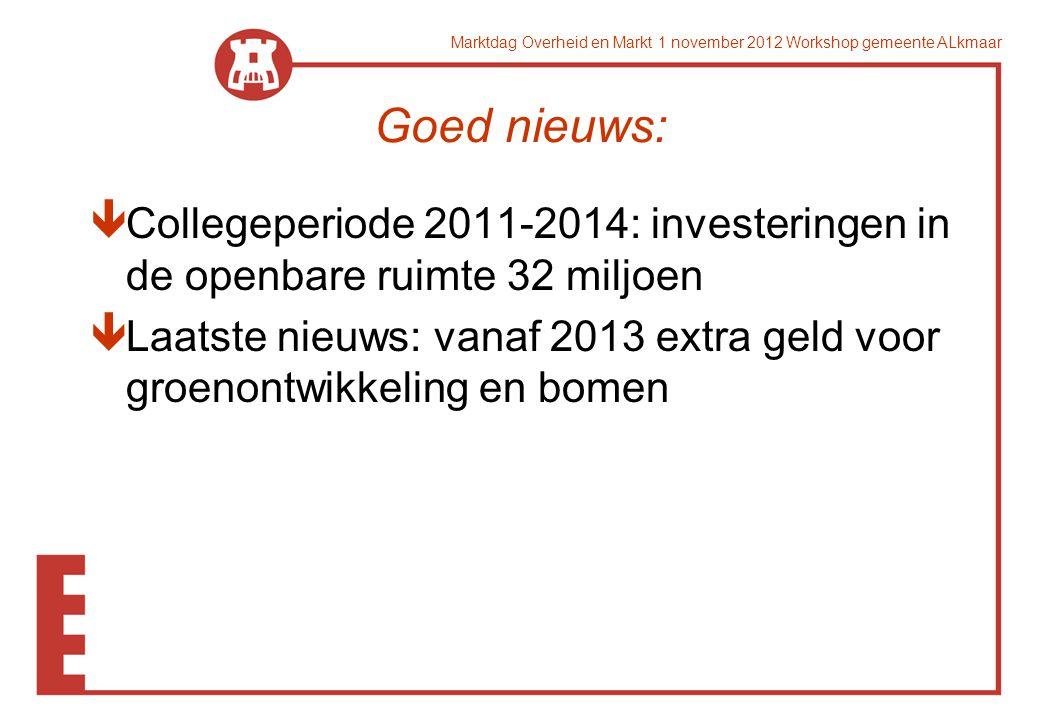 Marktdag Overheid en Markt 1 november 2012 Workshop gemeente ALkmaar Goed nieuws: êCollegeperiode 2011-2014: investeringen in de openbare ruimte 32 mi