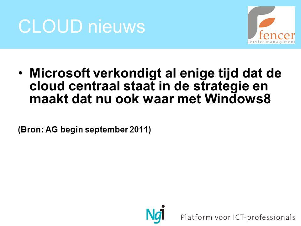 CLOUD nieuws Microsoft verkondigt al enige tijd dat de cloud centraal staat in de strategie en maakt dat nu ook waar met Windows8 (Bron: AG begin september 2011)