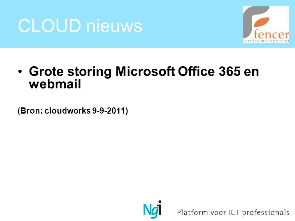 CLOUD nieuws Grote storing Microsoft Office 365 en webmail (Bron: cloudworks 9-9-2011)