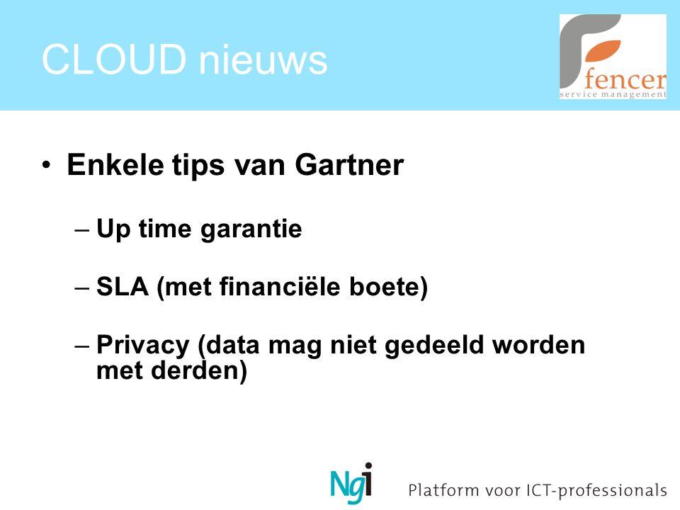CLOUD nieuws Enkele tips van Gartner –Up time garantie –SLA (met financiële boete) –Privacy (data mag niet gedeeld worden met derden)