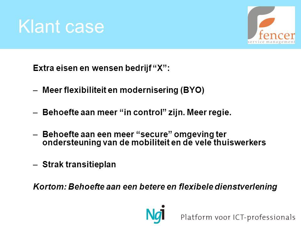 Klant case Extra eisen en wensen bedrijf X : –Meer flexibiliteit en modernisering (BYO) –Behoefte aan meer in control zijn.