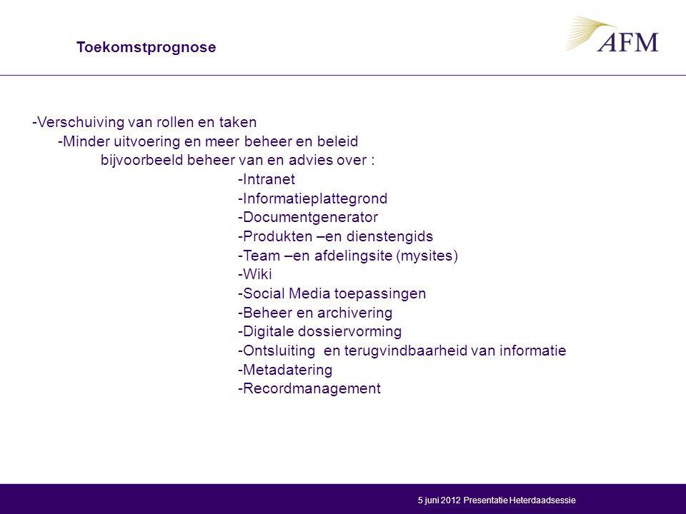 -Verschuiving van rollen en taken -Minder uitvoering en meer beheer en beleid bijvoorbeeld beheer van en advies over : -Intranet -Informatieplattegrond -Documentgenerator -Produkten –en dienstengids -Team –en afdelingsite (mysites) -Wiki -Social Media toepassingen -Beheer en archivering -Digitale dossiervorming -Ontsluiting en terugvindbaarheid van informatie -Metadatering -Recordmanagement Toekomstprognose Presentatie Heterdaadsessie5 juni 2012