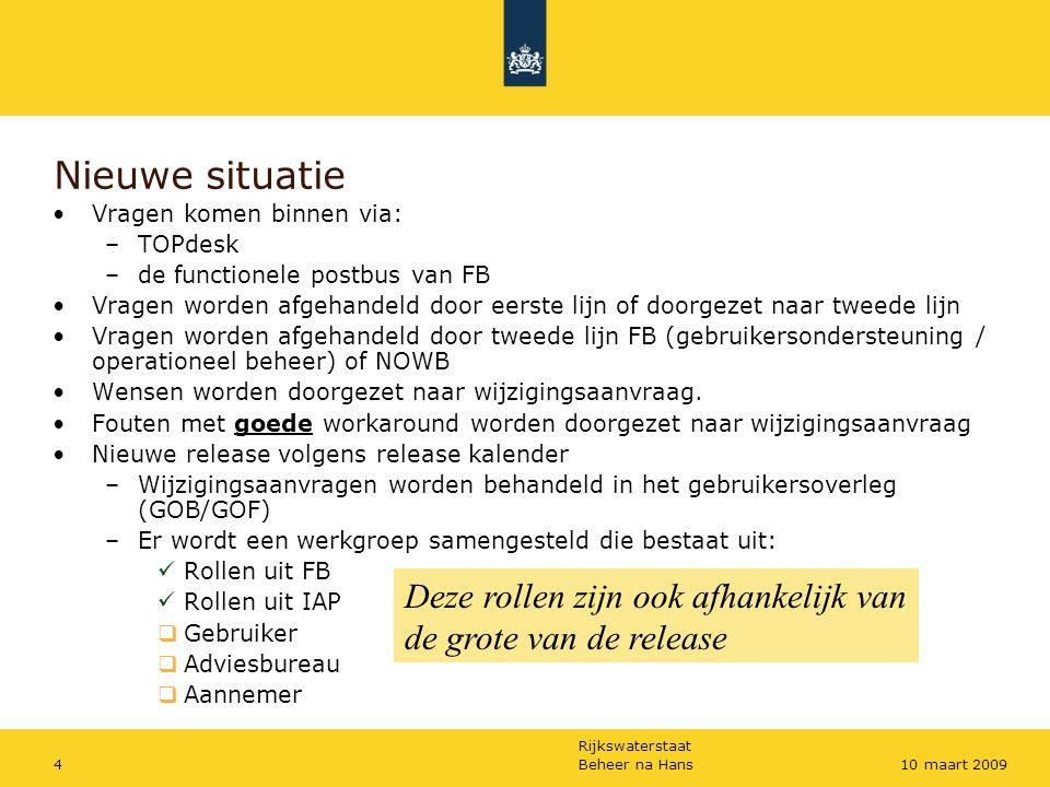Rijkswaterstaat Beheer na Hans410 maart 2009 Nieuwe situatie Vragen komen binnen via: –TOPdesk –de functionele postbus van FB Vragen worden afgehandel