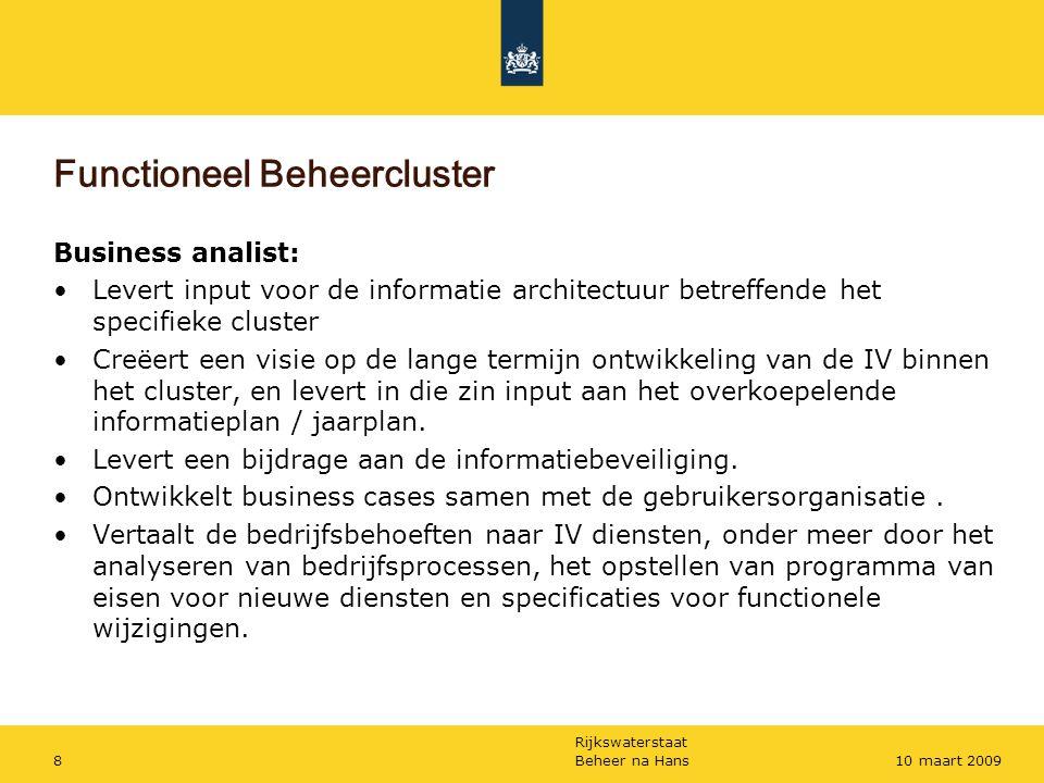 Rijkswaterstaat Beheer na Hans810 maart 2009 Functioneel Beheercluster Business analist: Levert input voor de informatie architectuur betreffende het