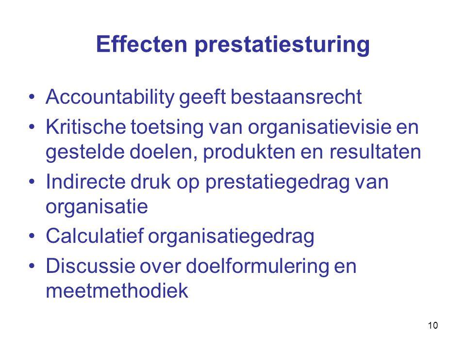 10 Effecten prestatiesturing Accountability geeft bestaansrecht Kritische toetsing van organisatievisie en gestelde doelen, produkten en resultaten Indirecte druk op prestatiegedrag van organisatie Calculatief organisatiegedrag Discussie over doelformulering en meetmethodiek