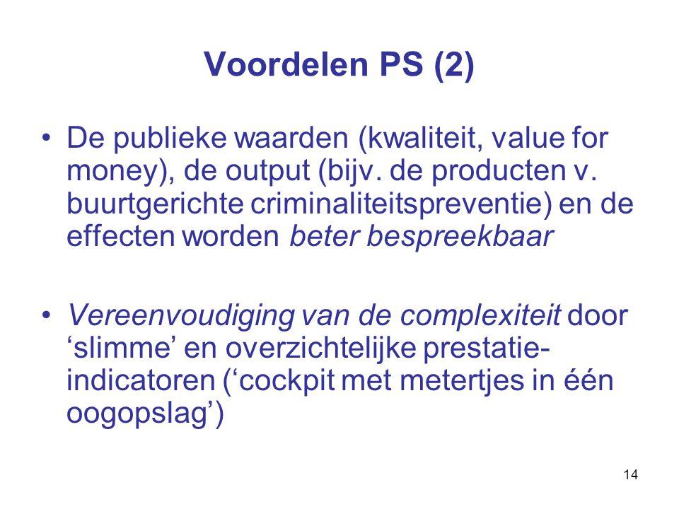 14 Voordelen PS (2) De publieke waarden (kwaliteit, value for money), de output (bijv.