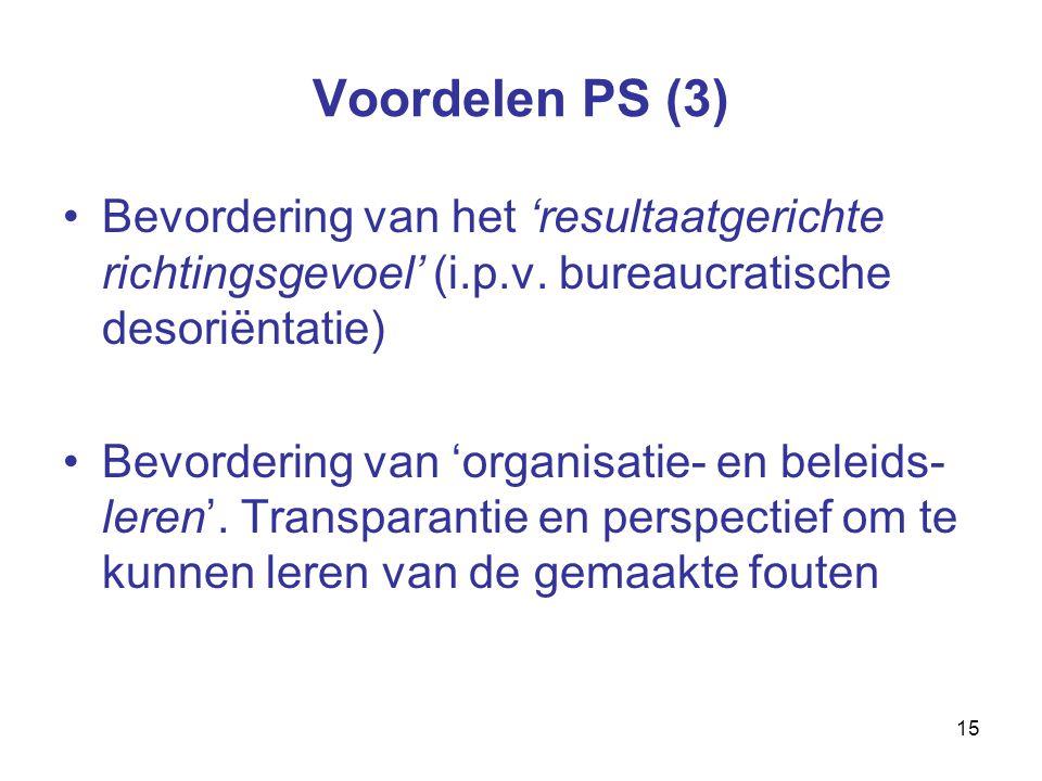 15 Voordelen PS (3) Bevordering van het 'resultaatgerichte richtingsgevoel' (i.p.v.