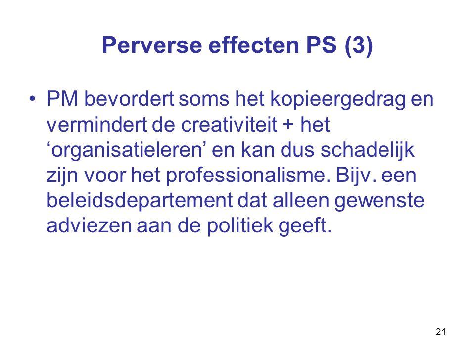 21 Perverse effecten PS (3) PM bevordert soms het kopieergedrag en vermindert de creativiteit + het 'organisatieleren' en kan dus schadelijk zijn voor het professionalisme.