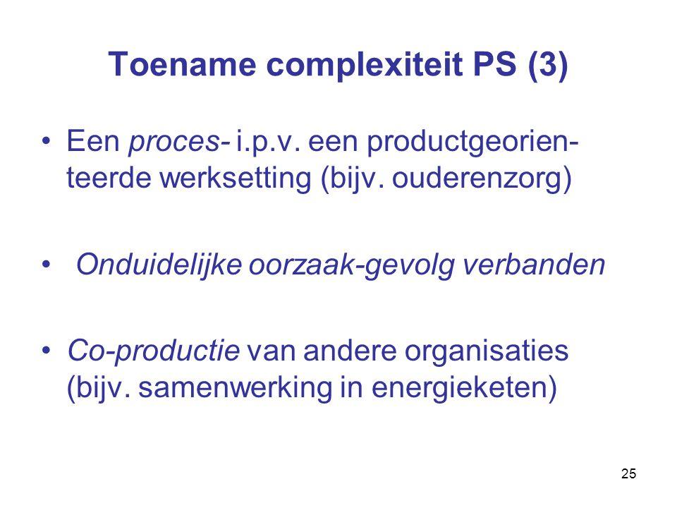 25 Toename complexiteit PS (3) Een proces- i.p.v. een productgeorien- teerde werksetting (bijv.