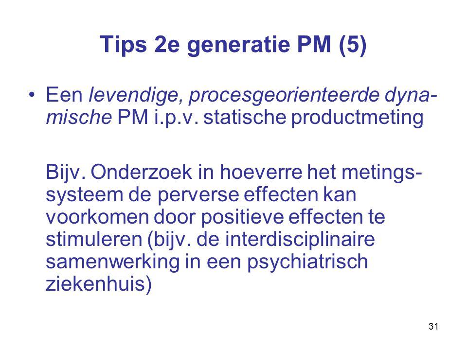 31 Tips 2e generatie PM (5) Een levendige, procesgeorienteerde dyna- mische PM i.p.v.