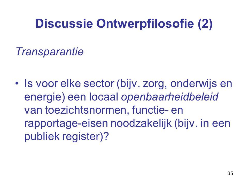 35 Discussie Ontwerpfilosofie (2) Transparantie Is voor elke sector (bijv.