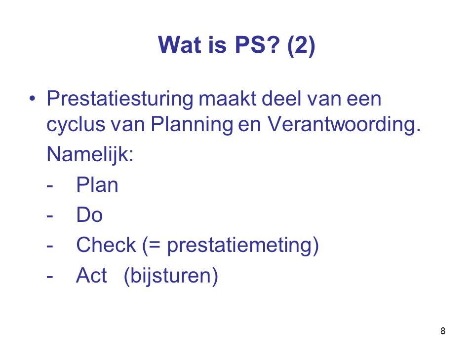 8 Wat is PS. (2) Prestatiesturing maakt deel van een cyclus van Planning en Verantwoording.