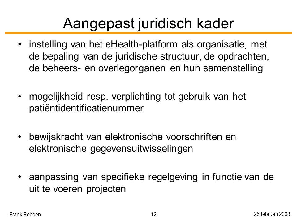 12 25 februari 2008 Frank Robben Aangepast juridisch kader instelling van het eHealth-platform als organisatie, met de bepaling van de juridische structuur, de opdrachten, de beheers- en overlegorganen en hun samenstelling mogelijkheid resp.