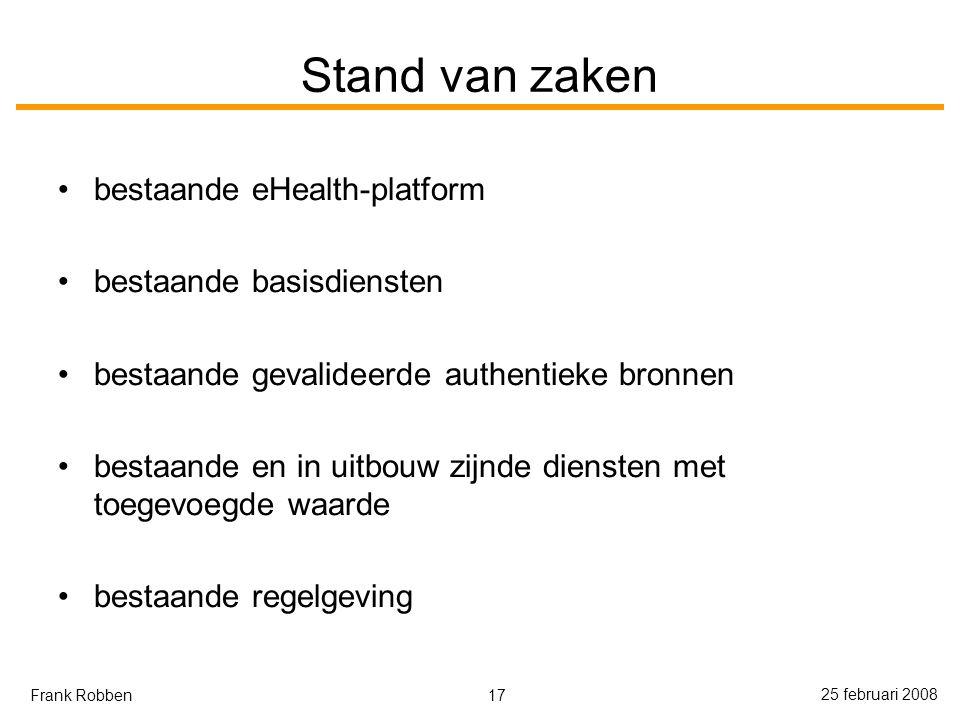 17 25 februari 2008 Frank Robben Stand van zaken bestaande eHealth-platform bestaande basisdiensten bestaande gevalideerde authentieke bronnen bestaande en in uitbouw zijnde diensten met toegevoegde waarde bestaande regelgeving