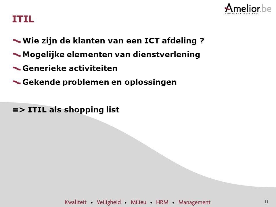 11 ITIL Wie zijn de klanten van een ICT afdeling ? Mogelijke elementen van dienstverlening Generieke activiteiten Gekende problemen en oplossingen =>