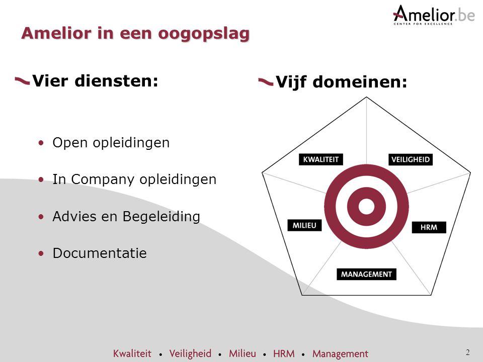 2 Amelior in een oogopslag Vier diensten: Open opleidingen In Company opleidingen Advies en Begeleiding Documentatie Vijf domeinen:
