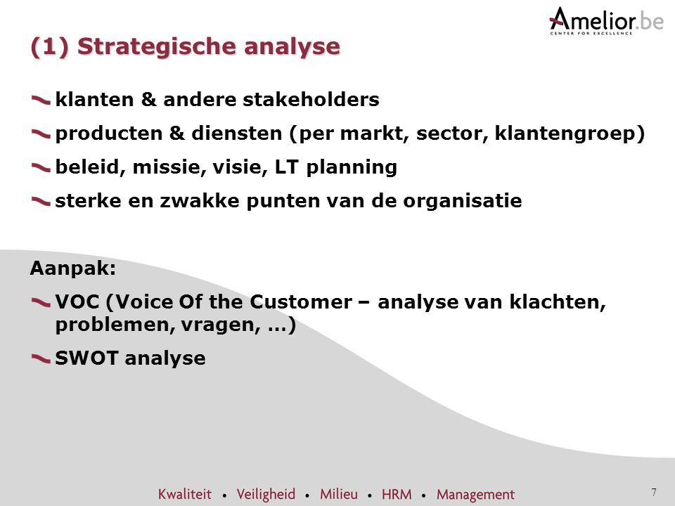 7 (1) Strategische analyse klanten & andere stakeholders producten & diensten (per markt, sector, klantengroep) beleid, missie, visie, LT planning ste