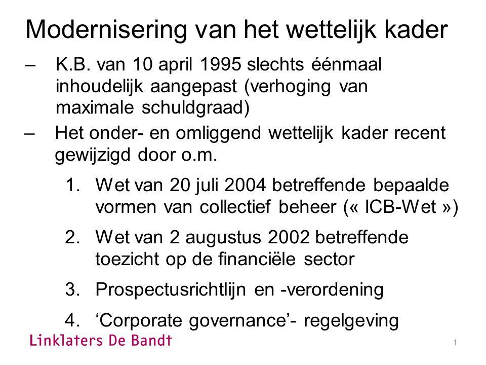 1 –Het onder- en omliggend wettelijk kader recent gewijzigd door o.m.