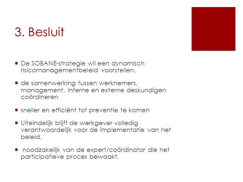 3. Besluit  De SOBANE-strategie wil een dynamisch risicomanagementbeleid voorstellen.  de samenwerking tussen werknemers, management, interne en ext