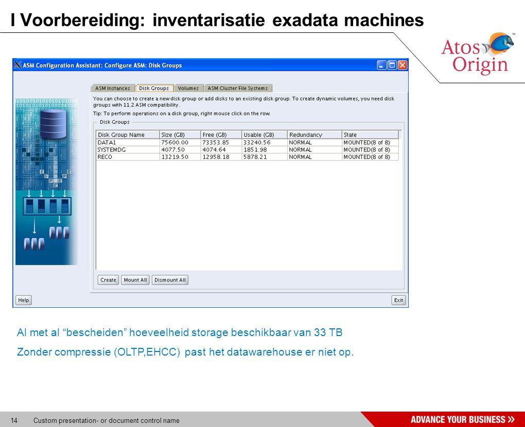 """14 Custom presentation- or document control name I Voorbereiding: inventarisatie exadata machines * Parameter onderzoek database Al met al """"bescheiden"""