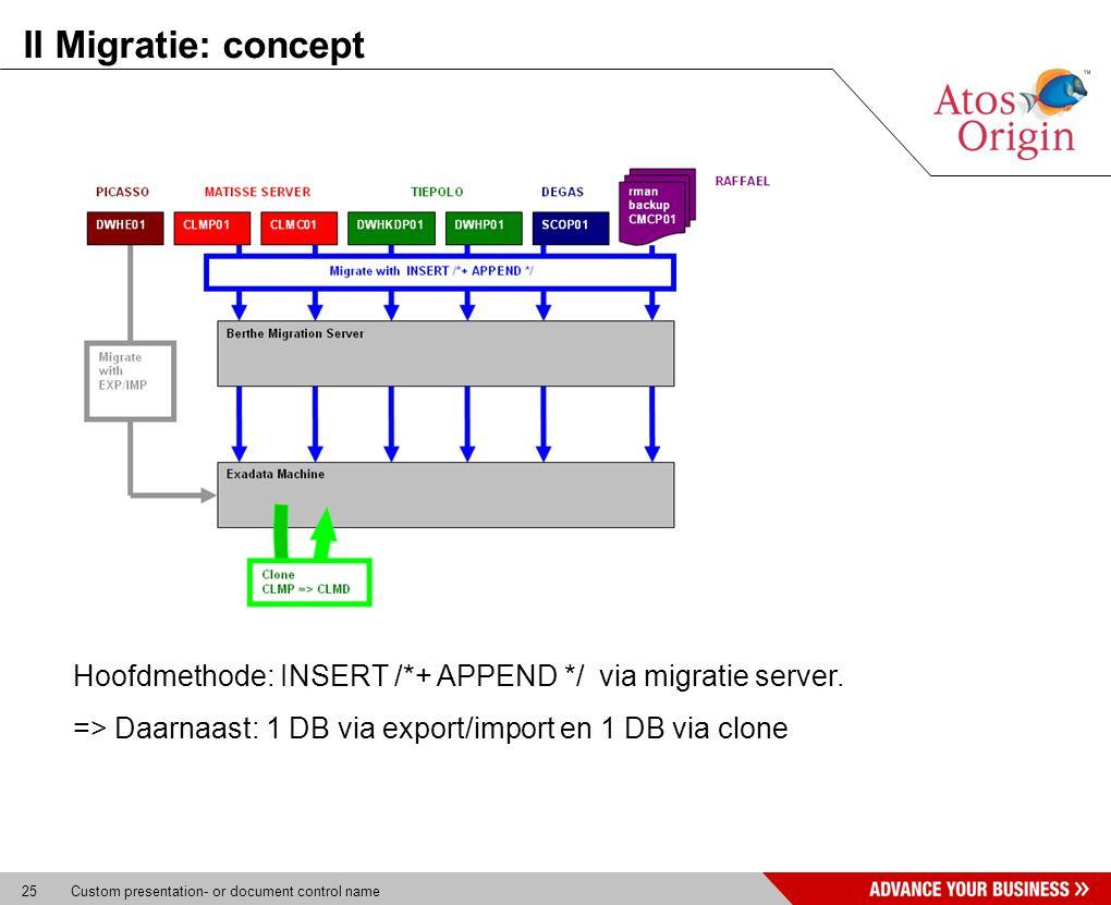 25 Custom presentation- or document control name II Migratie: concept Hoofdmethode: INSERT /*+ APPEND */ via migratie server. => Daarnaast: 1 DB via e