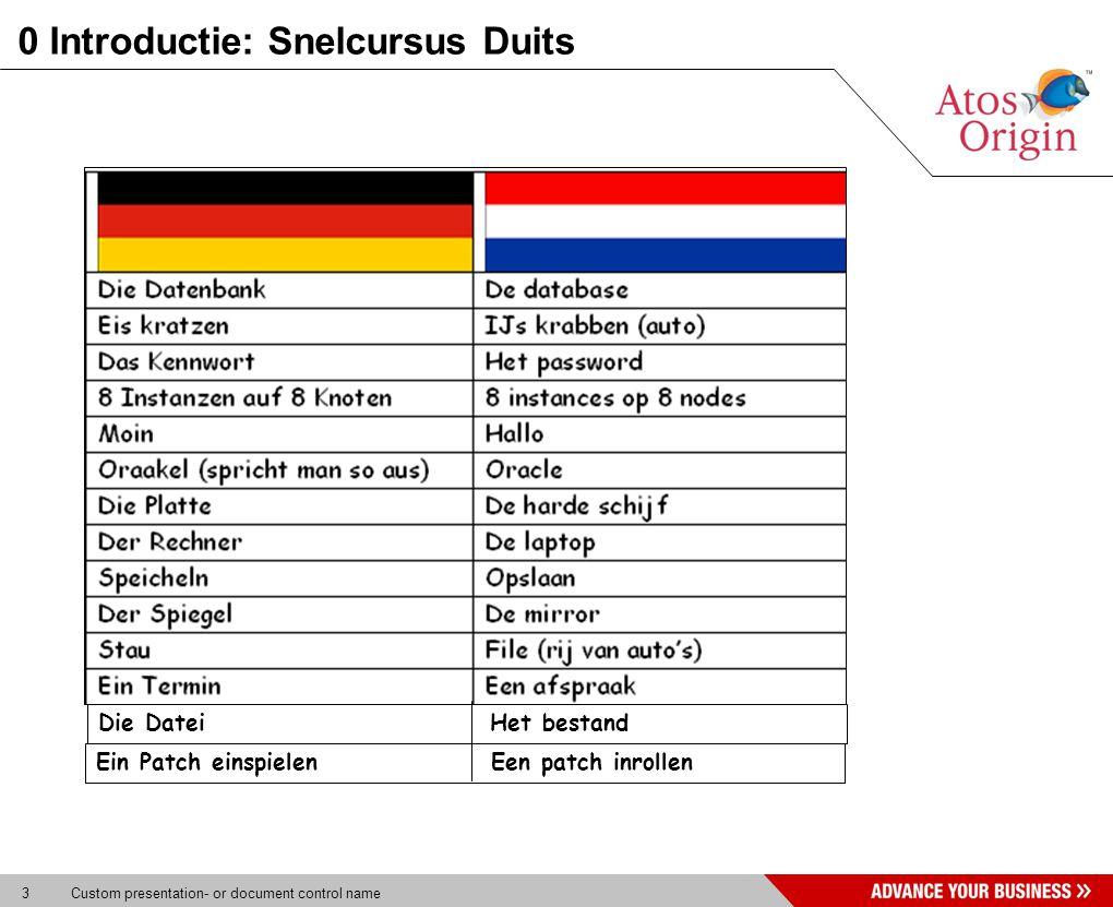 3 Custom presentation- or document control name 0 Introductie: Snelcursus Duits Die Datei Het bestand Ein Patch einspielen Een patch inrollen