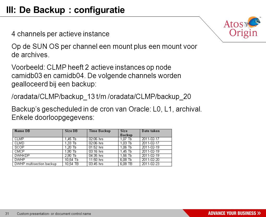 31 Custom presentation- or document control name III: De Backup : configuratie 4 channels per actieve instance Op de SUN OS per channel een mount plus een mount voor de archives.