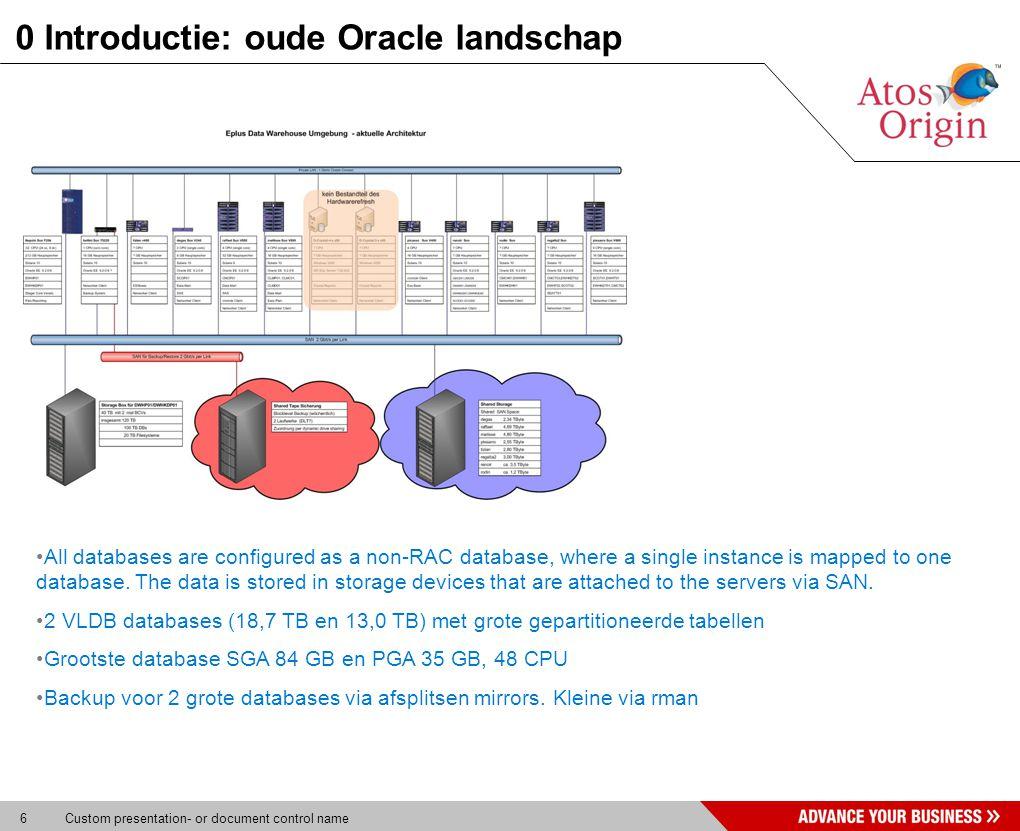 7 Custom presentation- or document control name 0 Introductie: oude Oracle landschap DatabaseCPUPGASGATOTSIZE GB DWHP0148 (share with DWHKDP01)24 GB84 GB108 GB19.134 GB DWHKDP0148 (share with DWHP01)13 GB29 GB42 GB13.342 GB DWHE0142 GB3,4 GB6 GB0,4 GB SCOP0121 GB0,6 GB2 GB2,4 GB CMCP0184 GB8,1 GB12 GB2,9 GB CLMP018 (share with CLMD01/CLMD01)3 GB5,0 GB8 GB2,1 GB CLMD018 (share with CLMP01/CLMC01)2 GB3,4 GB6 GB1,5 GB CLMC018 (share with CLMP01/CLMD01)0,6 GB1,0 GB2 GB0,8 GB Totaal7049,6 GB134,5 GB186 GB32.486 GB