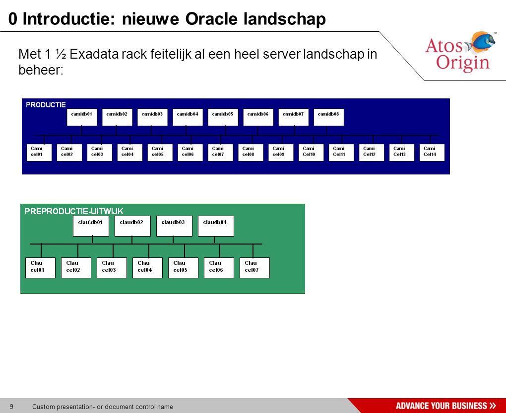 9 Custom presentation- or document control name 0 Introductie: nieuwe Oracle landschap Met 1 ½ Exadata rack feitelijk al een heel server landschap in