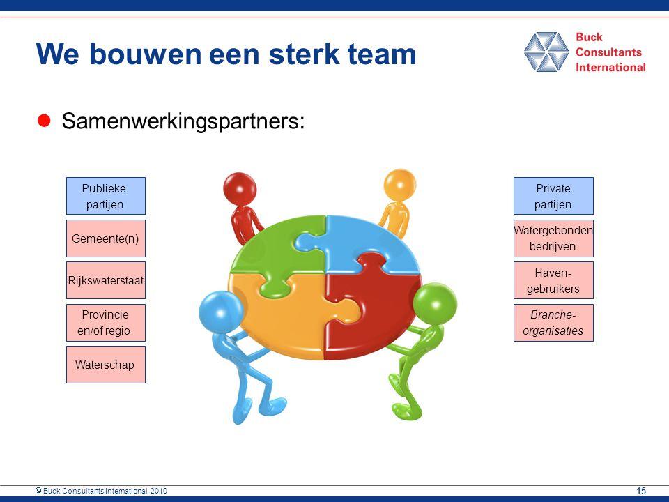  Buck Consultants International, 2010 15 We bouwen een sterk team Samenwerkingspartners: Publieke partijen Private partijen Gemeente(n) Rijkswatersta