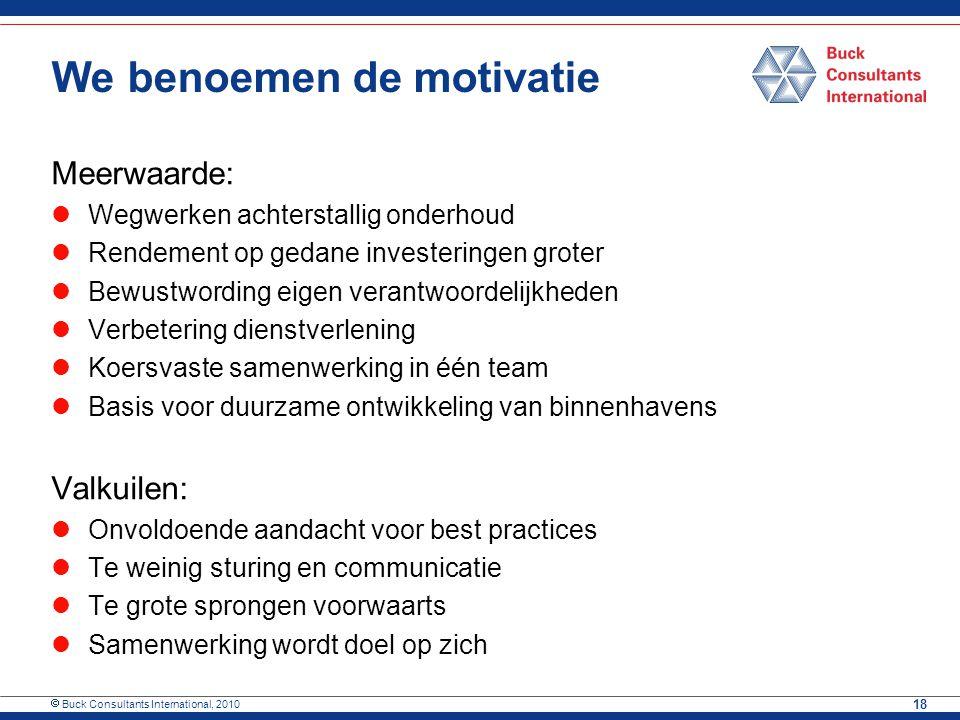  Buck Consultants International, 2010 18 We benoemen de motivatie Meerwaarde: Wegwerken achterstallig onderhoud Rendement op gedane investeringen gro