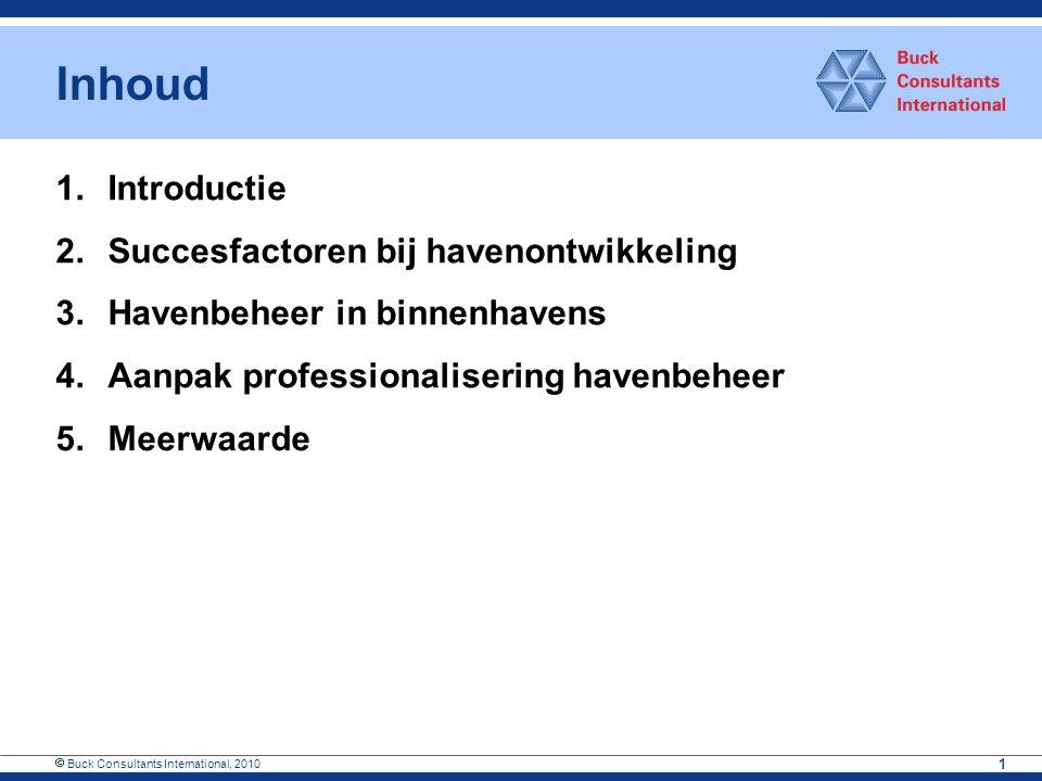  Buck Consultants International, 2010 1 Inhoud 1.Introductie 2.Succesfactoren bij havenontwikkeling 3.Havenbeheer in binnenhavens 4.Aanpak profession