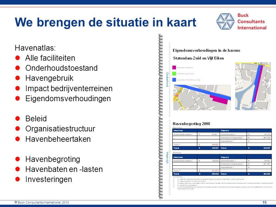  Buck Consultants International, 2010 19 We brengen de situatie in kaart Havenatlas: Alle faciliteiten Onderhoudstoestand Havengebruik Impact bedrijv