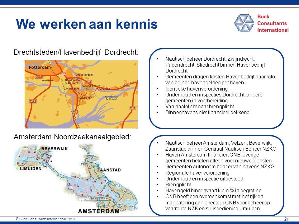  Buck Consultants International, 2010 21 We werken aan kennis Drechtsteden/Havenbedrijf Dordrecht: Amsterdam Noordzeekanaalgebied: Nautisch beheer Do