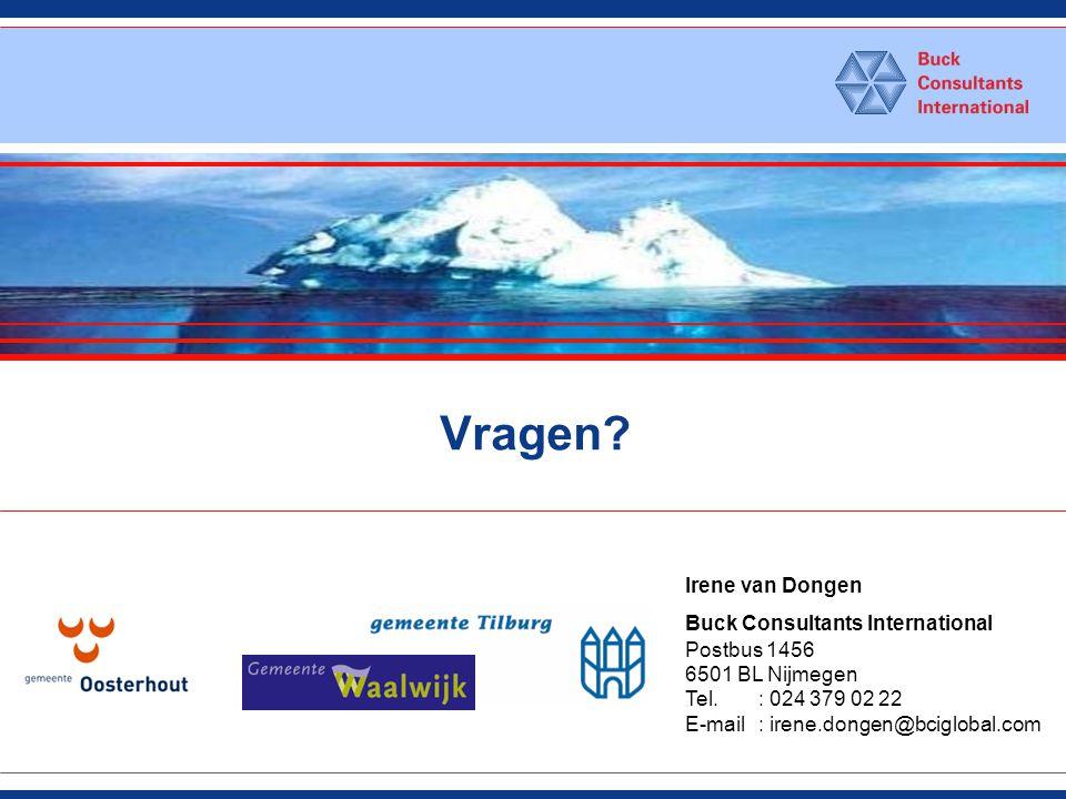 Vragen? Irene van Dongen Buck Consultants International Postbus 1456 6501 BL Nijmegen Tel.: 024 379 02 22 E-mail: irene.dongen@bciglobal.com