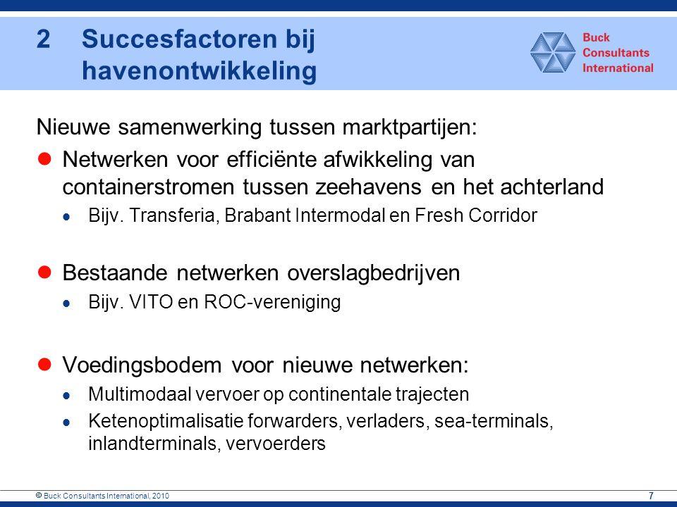  Buck Consultants International, 2010 7 Nieuwe samenwerking tussen marktpartijen: Netwerken voor efficiënte afwikkeling van containerstromen tussen z
