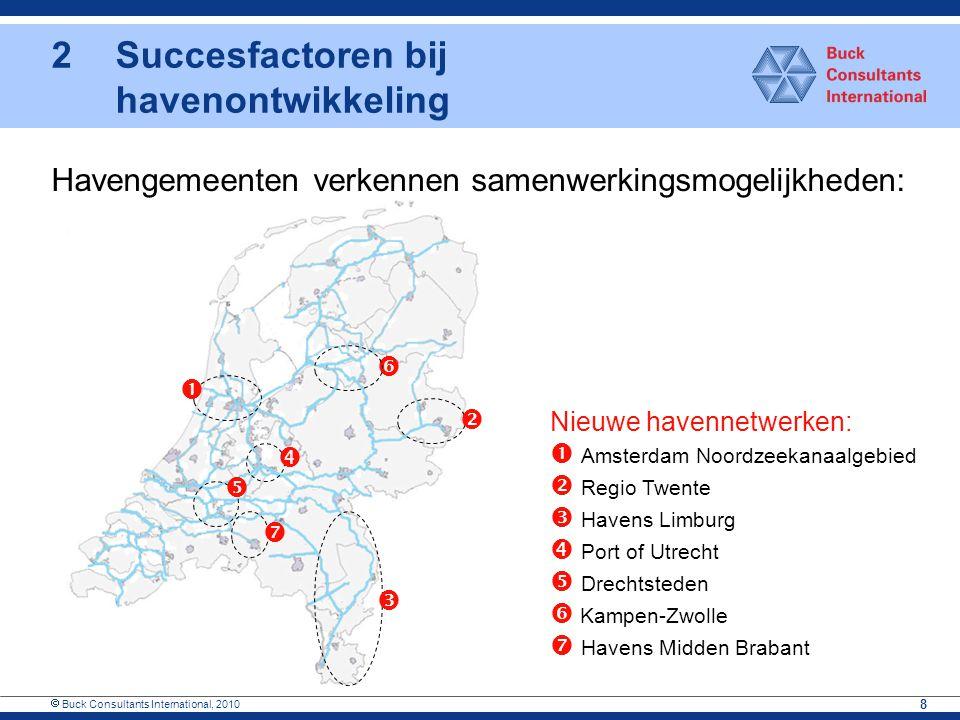  Buck Consultants International, 2010 8 Havengemeenten verkennen samenwerkingsmogelijkheden:       Nieuwe havennetwerken:  Amsterdam Noordzeek
