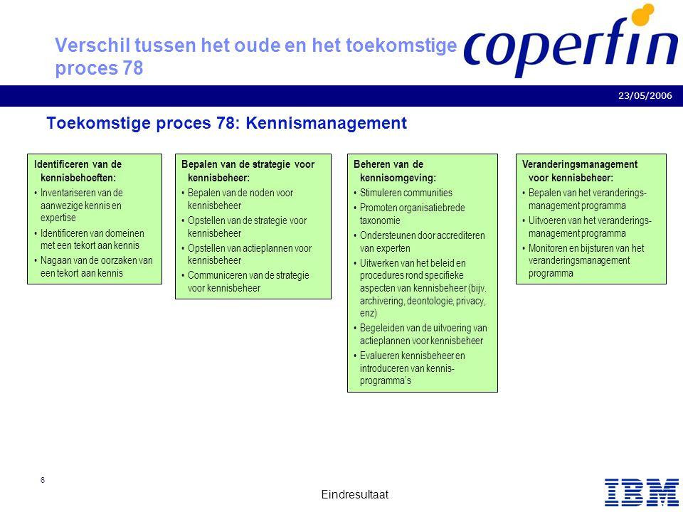 Business Consulting Services 23/05/2006 Eindresultaat 6 Verschil tussen het oude en het toekomstige proces 78 Toekomstige proces 78: Kennismanagement