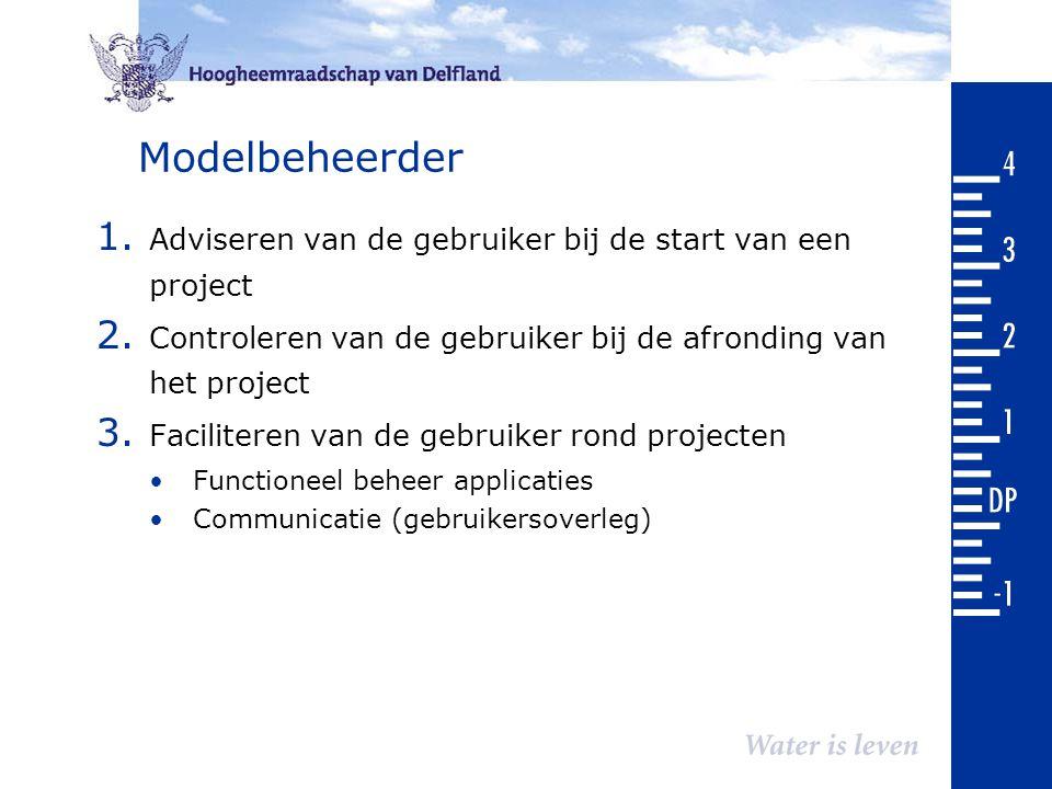 Modelbeheerder 1. Adviseren van de gebruiker bij de start van een project 2. Controleren van de gebruiker bij de afronding van het project 3. Facilite